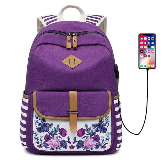 Women's Fresh Flower USB Interface Floral Stripe Flower School Bag Young Student Canvas Backpack