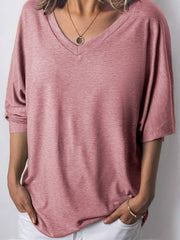 Women Long Sleeves V Neck  Loose-Ness Fit Shirt Tops