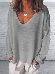 Women V Neck Casual Long Sleeve Tops