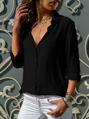 Women Long Sleeve Solid Casual Shift Office Blouses
