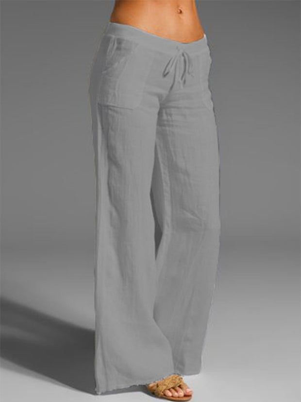 Women Pants Casual Beige Cotton-Blend Pants