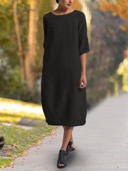Women's Solid undress Casual Daily Crew Neck Casual 3/4 Sleeve Dresses