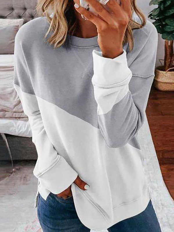 Women's Elegant Color Block Round Neck Long Sleeve Sweatshirt