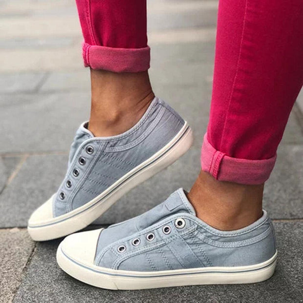 Women's Large Size Canvas Casual Comfy Low Top Flats