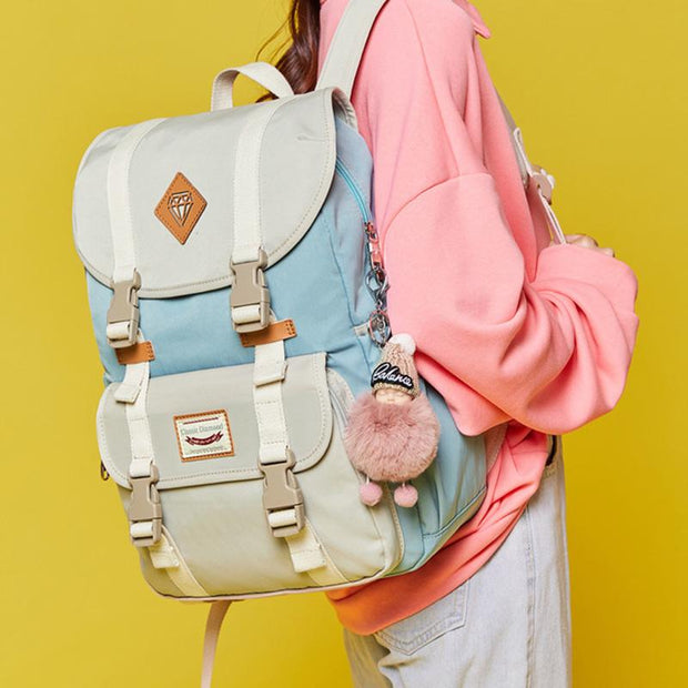Multicolor Canvas Casual Patchwork Backpack