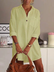 Women's White Plain Long Sleeve V Neck Cotton Plus Size Causal Dresses