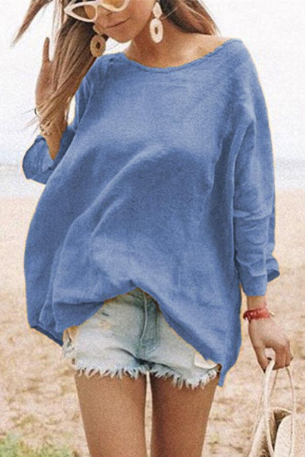 Crew Neck Long Sleeve Linen T-shirts