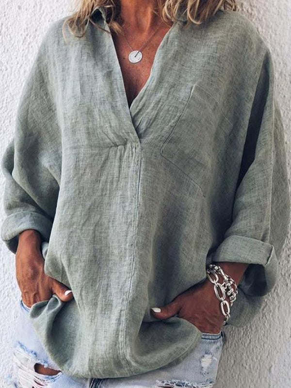 Linen Casual V Neck Long Sleeve Blouse