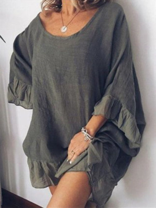Women's Scoop Neck Flare Sleeve Plain Casual Dresses