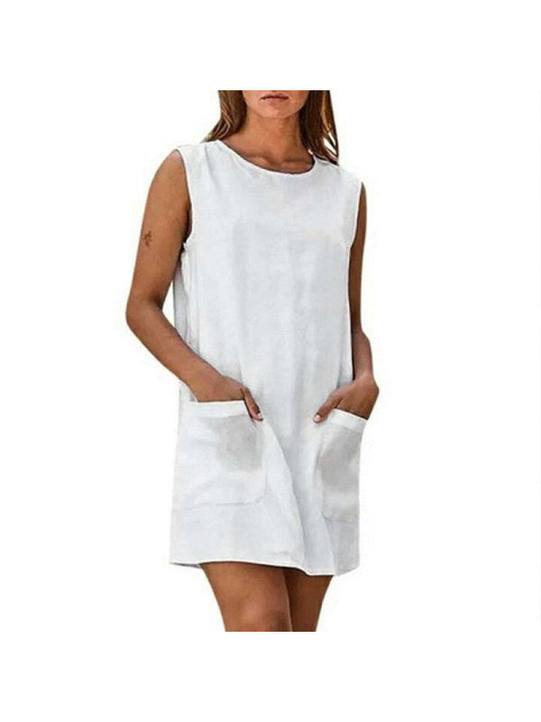 Women's Round Neck Plain Sleeveless Cotton And Flax Dress