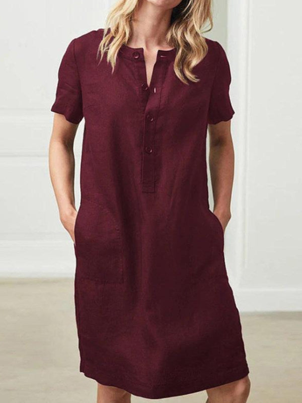 Women's Button Neck Short Sleeve Plain Casual Dresses