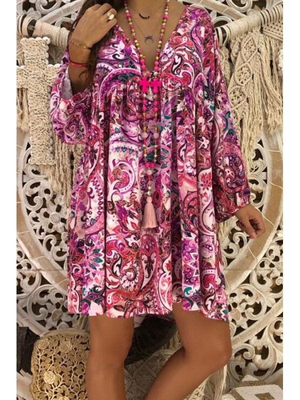 Women's V Neck Printed Long Sleeve Casual Dresses