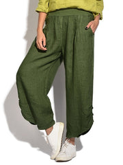 Side Button Solid Color Casual Harem Pants For Women