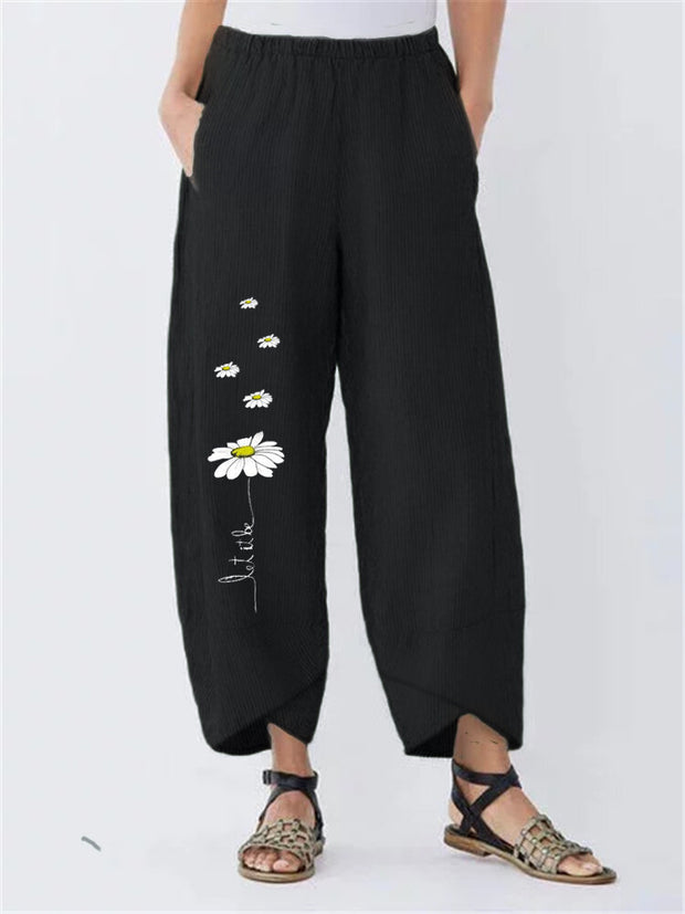Cartoon Daisy Print Elastic Waist Casual Pants For Women