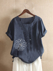 Flower Print Short Sleeve Casual T-shirt For Women