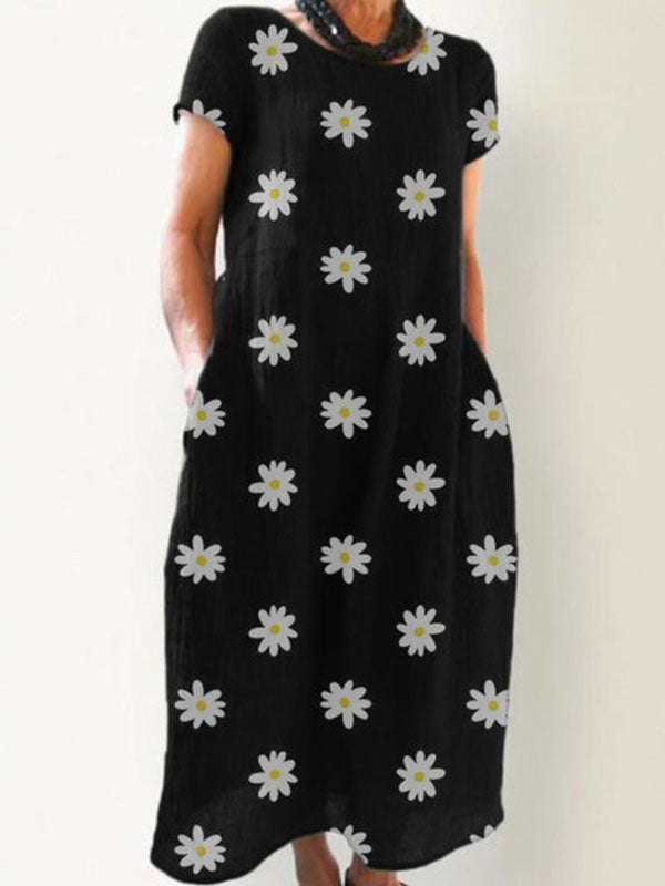 Women's Short Sleeve Printed Round Neck Dresses