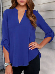 Women's 3/4 Sleeve Solid Crew Neck Casual Plus Size Blouse
