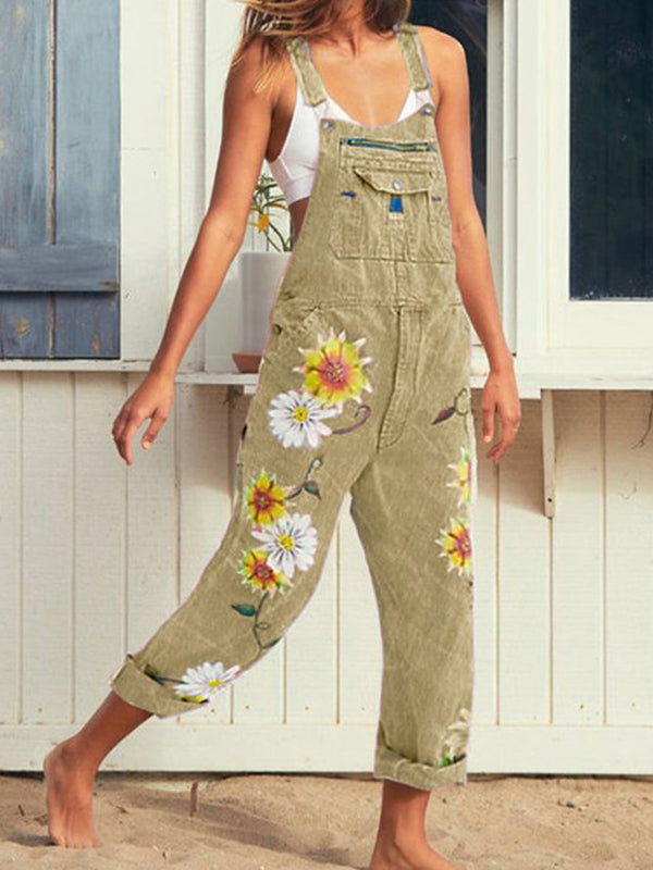Plus Size Women Sunflower Printed Denim Jumpsuit