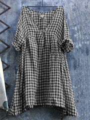 Women's Casual V Neck 3/4 Sleeve Plus Size Lattice Bat Sleeve Dress