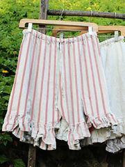 Folds Lace Up Elastic Waistband Shorts Stripe Linen Bloomers