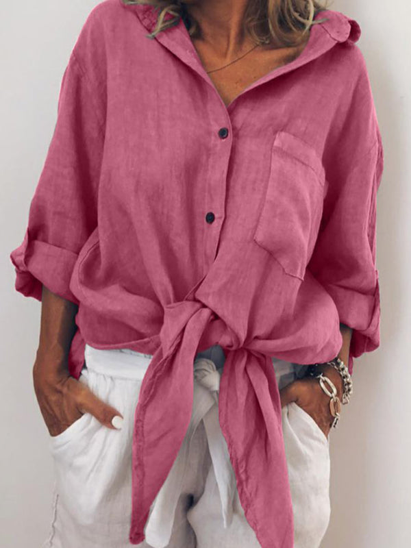 Long Sleeve Buttoned V Neck Solid Shirts