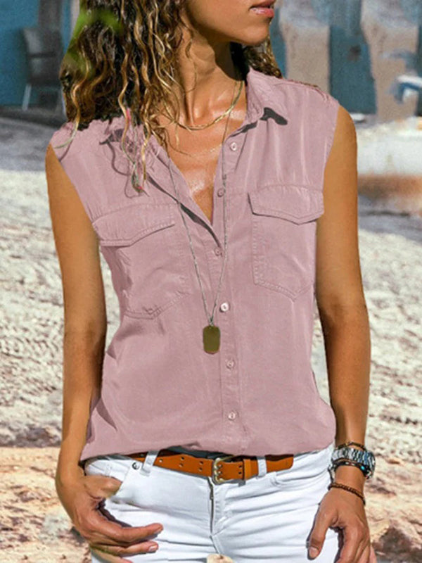 Casual Plain Turn-down Collar Buttoned Sleeveless Vest