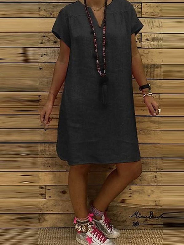 Women's Casual Solid V-Neck Plus Size Dress