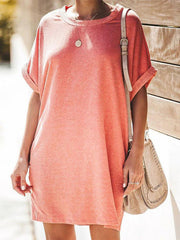 Casual Slim Short Sleeve Pocket Dress