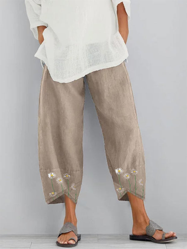 Women's Khaki Casual Printed Pants