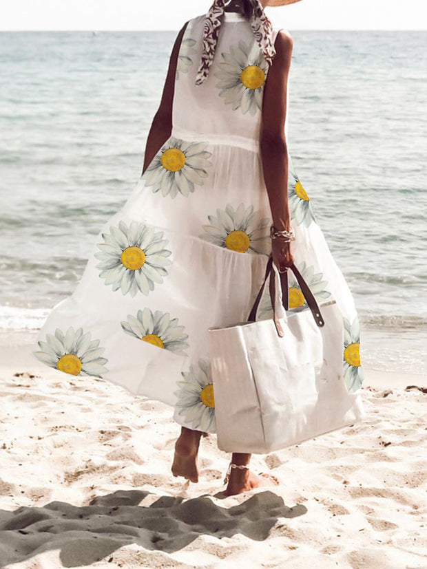 Women's White Casual Floral  Dresses