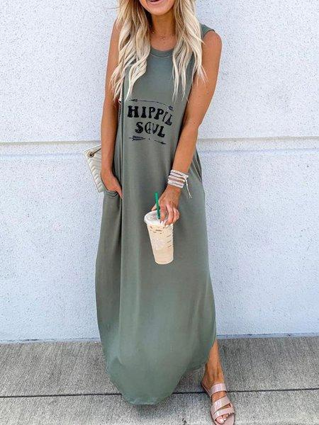 Plus Size Solid Casual  Round Neck Sleeveless Dresses