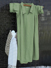 Spring/Summer Shirt Collar V-Neck Pleated Details Casual Dresses