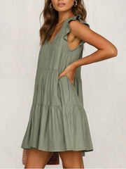 Women's Ruffled Holiday Short Sleeve Cotton A-Line Dresses