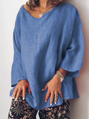Women's Plus Size Casual O Neck Long Sleeve Tops Tunic