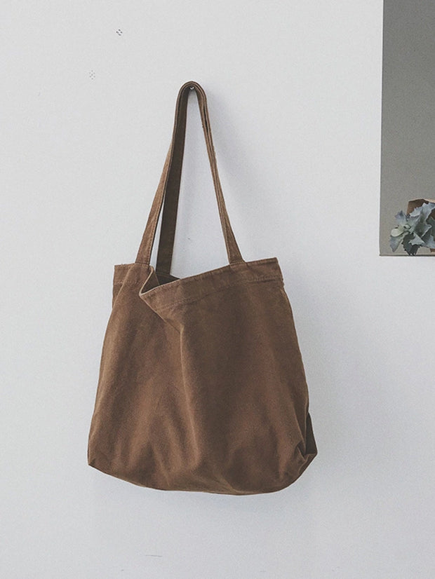 Women's Canvas Solid Vintage Shoulder Tote Bags