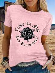 Women's Vintage Short Sleeve Statement Rose Letter Printed Crew Neck Plus Size Casual Tops