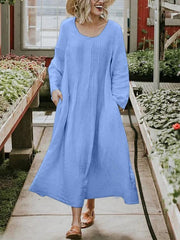 Plus Size Casual Solid Long Sleeve Pockets Dresses