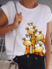 White Cotton Short Sleeve Animal Shirts & Tops