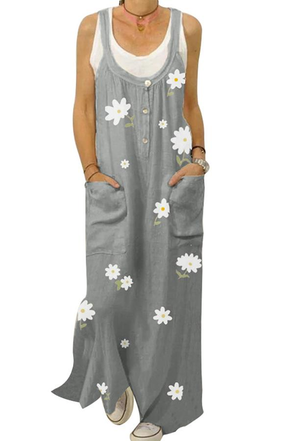Casual Floral Print Paneled Buttoned Pockets Spaghetti Maxi Dress