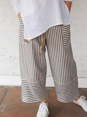 Women Striped Pockets Summer Linen Capri Pants