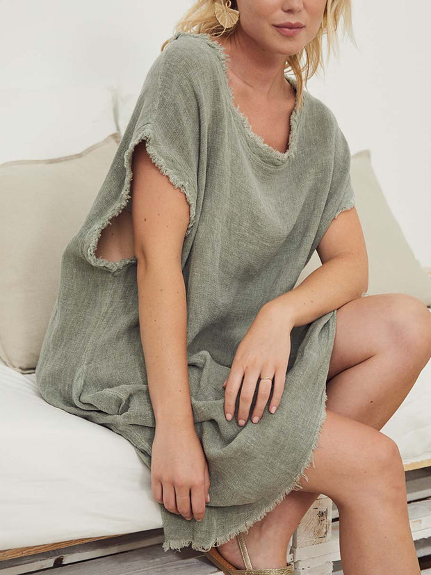 Women'S Linen Straight Fleece Dress
