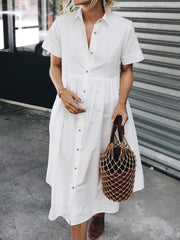 Women Buttoned Paneled Solid Casual Shirt Dresses