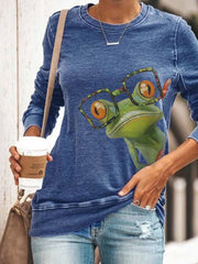Women's Cute Frog Print Top With Glasses