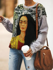 Women's  Loose Frida Kahlo Portrait Print Poster Sweater