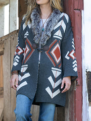 Aztec Horn Buttoned Long Sleeve Women Cardigans Coats