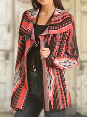 Aztec Long Sleeve Women Knitted Cardigans
