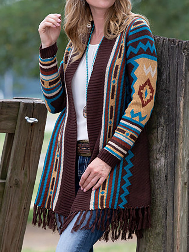 Fringed Aztec Long Sleeve Women Knitted Cardigans