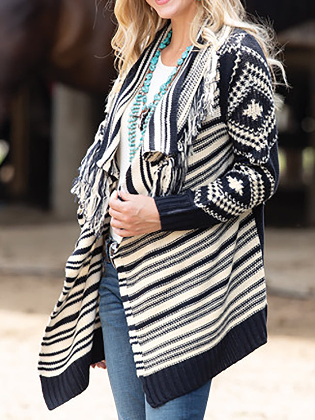 Aztec Fringed Long Sleeve Knitted Women Cardigans