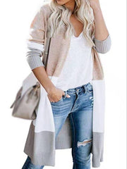 Women's Long Sleeve Contrast Color Cardigan Long Sweater