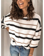Women's Striped Color-Block Buttoned Sweater